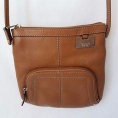 Tignanello Brown Leather Crossbody Messenger Organizer Handbag Purse #Tignanello #MessengerCrossBody