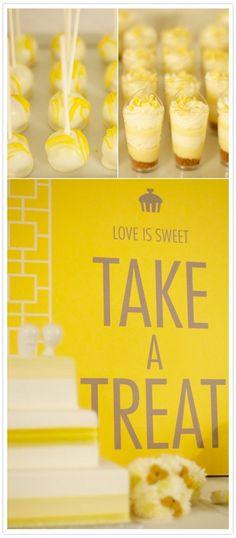yellow grey wedding LOVE IS SWEET, TAKE A TREAT sign