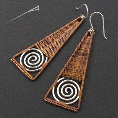 Copper and silver earrings  avant garde wirework by arrabeska, $32.00