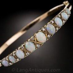 9K Opal and Diamond Bangle