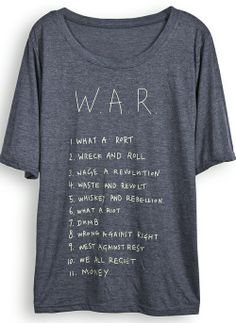 Dark Grey Short Sleeve WAR Print T-shirt for HPL -$19.49