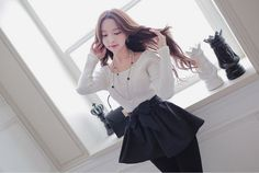 All Korean Fashion items up to 60%OFF! (Sale ends 2nd Nov, 2014) Babi n Pumkin - Round-Neck Peplum Top with Sash #roundneckpeplumtop #peplumtop #topwithsash