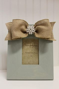 Burlap and Jewel Picture Frame cute idea but would pick a prettier frame!