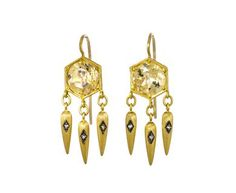 Cathy Waterman - Citrine and Diamond Egyptian Drop Earrings in Designers Cathy…