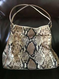 7d05b7fb0e Coach Python Purse Shoulder Bag Madison Phoebe Tan Snakeskin Leather Trim  31502