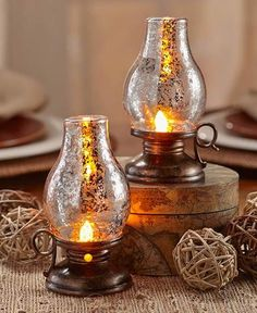 Hurricane Lantern Lamp Set Battery Operated Country Rustic Primitive Lodge Cabin