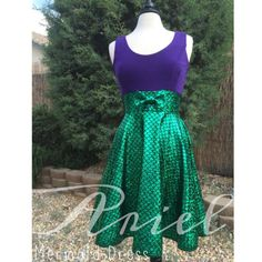 The Little Mermaid Dress Ariel Inspired Disney Green Mermaid Scale Sparkles and Purple Tank Top Circle Skirt Sweetheart Dress with Bow!