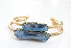 Raw Crystal Cuff Bracelet //Trendy Gift Idea // Wedding Jewelry // Boho// Aqua Blue Crystal  Quarzt  Pyrite // Beach Style // Christmas Gift by AnaberJewelry on Etsy https://www.etsy.com/ca/listing/246790071/raw-crystal-cuff-bracelet-trendy-gift