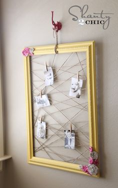 memo frame by stapling twine within a frame..doing this