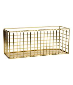 Gull. En rektangulær trådkurv i metall. Størrelse 8,5x10x24 cm.