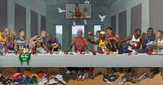 This amazing Last Supper piece created for the Ballzy store in Latvia features Michael Jordan, Kobe Bryant, LeBron James, Allen Iverson and more. Basketball Memes, Basketball Posters, Basketball Art, Love And Basketball, Basketball Legends, Jordan Basketball, Basketball Jersey, Shaquille O'neal, Magic Johnson