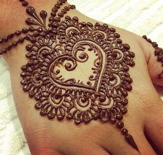 Heart Mehndi For Bride