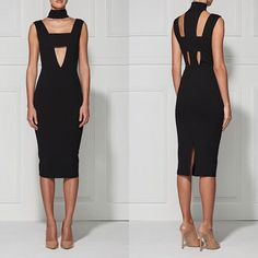 Fashion Women Sexy High Quality Outfits Dress Cut Out Bodycon Bandage Club Dress Evening Party Celebrity Black HL Dress