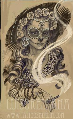 Day of the Dead Woman - Drawing