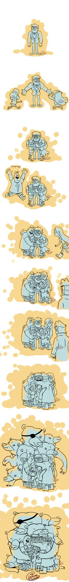 "Wanted to draw stangst but drew stanhugs instead. This is partially what I headcanon will happen in the finale (the Mabel crying ""hug it out"" again part, not the crying part). I was als. Gravity Falls Funny, Gravity Falls Comics, Bill Cipher, Billdip, Dipper Y Mabel, Desenhos Gravity Falls, Gavity Falls, Pinecest, Steven Universe"
