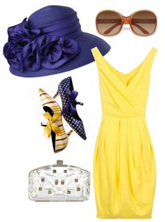"""a day at the kentucky derby :: yellow dress + big hat"" minus the hat and shoes. Kentucky Derby Outfit, Kentucky Derby Fashion, Derby Outfits, Outfits With Hats, Short Outfits, Melbourne Cup Fashion, Derby Dress, My Bridal Shower, Derby Day"