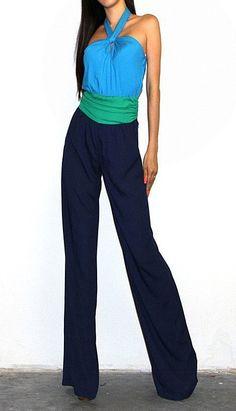 Sexy Blue Halter Jumpsuit