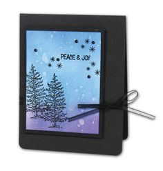 Peace & Joy Trees Card - click through for project instructions.