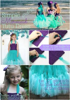 This is our easiest dress in our DIY mermaid dress collection! Create a basic dress and add a few adorable embellishments for this fun fin look!