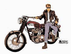 1967 Triumph Bonneville T120r by Quique Maqueda #illustration #design #motorcycles #motos | caferacerpasion.com