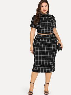 27f6c008b72 Plus Mock Neck Crop Grid Tee   Skirt Set Plus Size Winter Outfits