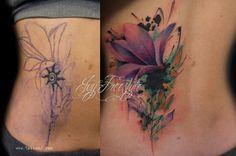 Tattoo flower coverup by Tattoo-J on @DeviantArt
