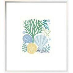 "East Urban Home 'Under Sea Treasures VI Sea Glass' Graphic Art Print Format: Collins White Framed, Matte Color: No Matte, Size: 35"" H x 28"" W"