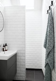 White subway tiles in the bathroom.