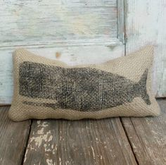 Cachalot Whale- Burlap Feed Sack Doorstop - Nautical Door Stop - Burlap Decor Coastal Homes, Coastal Decor, Whale Pillow, Non Toxic Paint, Feed Sacks, Am Meer, Beach Cottages, Nautical, Throw Pillows