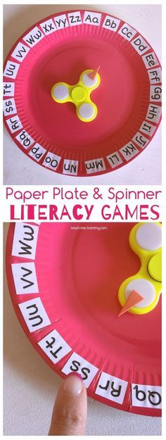 This makes learning letters extra fun for … Paper Plate & Spinner Literacy Games. This makes learning letters extra fun for preschool and kindergarten. Literacy Games, Kindergarten Activities, Preschool Activities, Math Games, Preschool Letters, Fun Games, Phonics Games, Literacy Stations, Literacy Skills