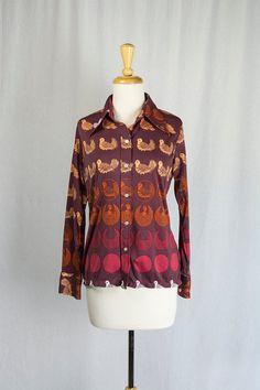 Vintage 1970's Pigeon Shirt Novelty Print Long by madvintage