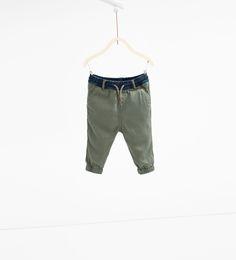 Spodnie z kontrastowym pasem
