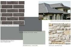 Basalt roof and timeless grey? Exterior Color Combinations, Exterior Color Schemes, House Color Schemes, Exterior House Colors, Colour Schemes, Paint Schemes, Building Exterior, Building A House, Outdoor House Paint