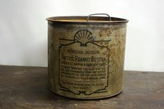 primitive peanut butter tin. This is from the The Great Atlantic & Pacific Tea Co. established in 1859 in New York, NY. A great piece of New York history. Urban metal, great black typography, amazing primitive industrial urban decor for your home.