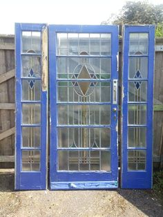 1930's Front Door with Side Panels Stained Leaded Glass reclaimed