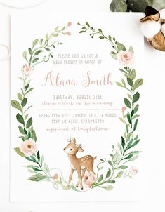 Ideas Baby Born Design Shower Invitations For 2019 Forest Baby Showers, Deer Baby Showers, Baby Shower Niño, Baby Shower Invites For Girl, Girl Shower, Baby Shower Invitations, Baby Shower Gifts, Alice, Baby Deer