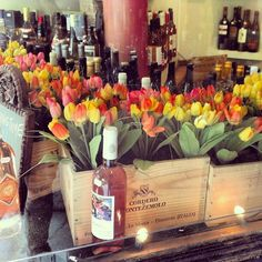 Wine Crate Bar Floral Arrangement
