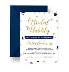 Elegant Shimmer Bridal Shower Invitations in a modern mixture of rich bold shimmering hues. Beautiful and so perfect for you upcoming bridal bubbly, brunch or traditional wedding shower party theme. Glittery-look dots adorn a solid white invite in a mix of lilac, gold, navy & purple. Printable or printed invites are personalized with your celebration details. Elegant Shimmer Bridal Invitations feature: ° Solid white invitations with navy, purple gold & lilac dots ° Abstract design wit...