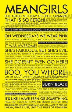Mean Girls Quote Poster... I need this for my room