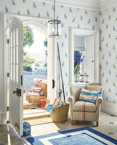 Laura Ashley Harbour Collection | Ahoy Seaspray Wallpaper | Fishmonger Cushion