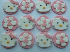 Bonjour kitty Fondant Cupcake Toppers - décorations de gâteau comestible Handmade au Royaume-Uni