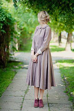 Linen dress, Purple, Long sleeve, Women Fashion, Hand Made dress,  Loose Dress, Women clothing