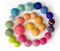 ball of wool felt dryer - natural waldorf toys rainbow of bright colors or pastel colors