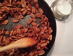 These make fantastic host/hostess gifts (see photo below), as well as a simple snack or holiday appetizer. SPICY PECANS* Makes 1 pound