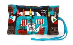 Crayon Roll Pirate Ship Crayon Rollup Crayon Roll by FrogBlossoms, $5.00