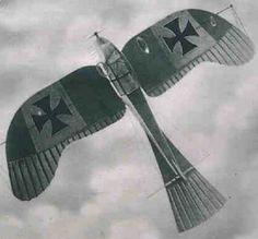 Rumpler Taube German observation plane flies over. Photo taken in 1917.