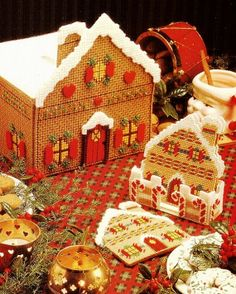 Plastic canvas gingerbread village pattern