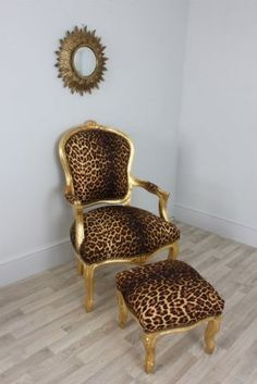Louis Gold Leopard - Leopard Print Louis Style Salon Chair boudoir throne & Matching Stool so need for my bedroom Animal Print Furniture, Animal Print Decor, Animal Prints, Leopard Bedroom, Leopard Chair, Funky Furniture, Home Decor Furniture, Painted Furniture, Home Design