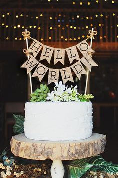 Hello World Cake Topper, Baby Shower Cake Topper, Hello Baby, Rustic Baby Shower Decor, Gender Neutral Cake Topper, Burlap Cake Topper, Rustic Baby Shower Cake Topper, Rustic Hello World Cake Topper, Hello World, Baby Shower Ideas, Baby Shower Cake Topper Ideas