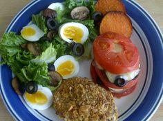 Crusted fish, Tomato burger and espresso cheese salad